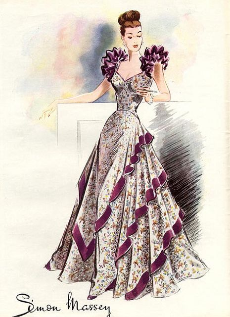 A beautiful 1940s evening gown with oodles of shoulder interest going on. #vintage #1940s #fashion #illustration #purple #dress