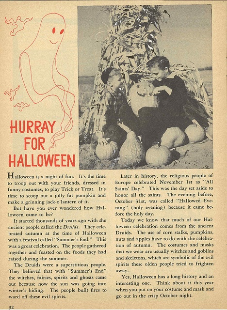 "Vintage Halloween Ephemera ~ ""Hurray For Halloween"" a Page from Child Life Magazine ©October, 1951"