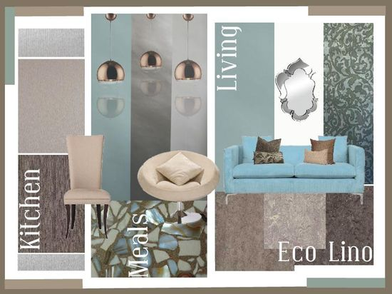 Aqua inspired living and kitchen interior design. Moodboard created using www.sampleboard.com