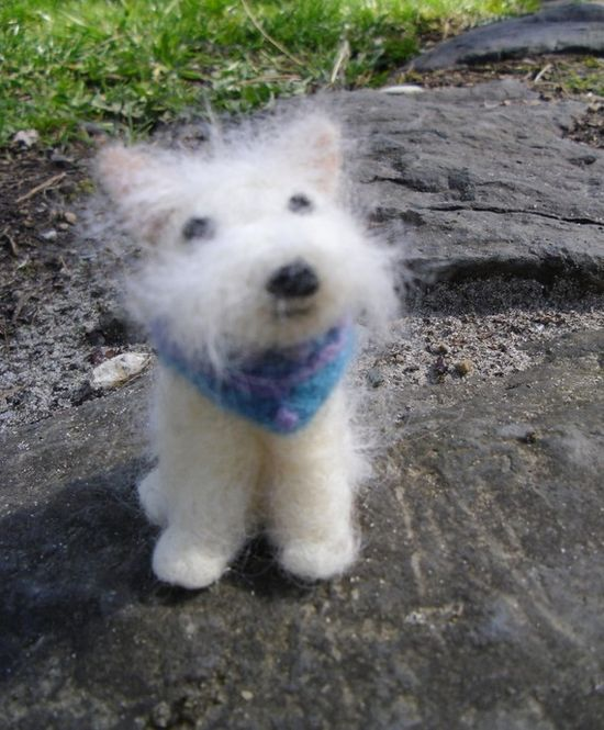 Little White Felted Dog - nosetotail - etsy