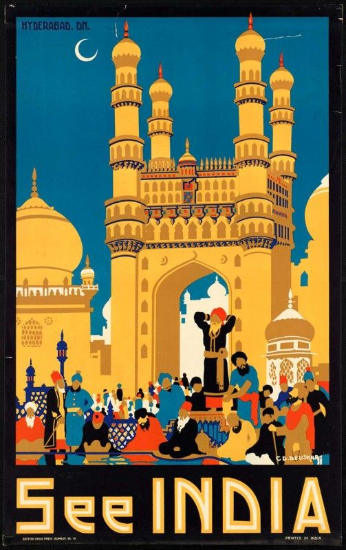 Nothing quite like the exotic, intriguing pull of traveling to India. #India #vintage #travel #poster #Asia #vacation