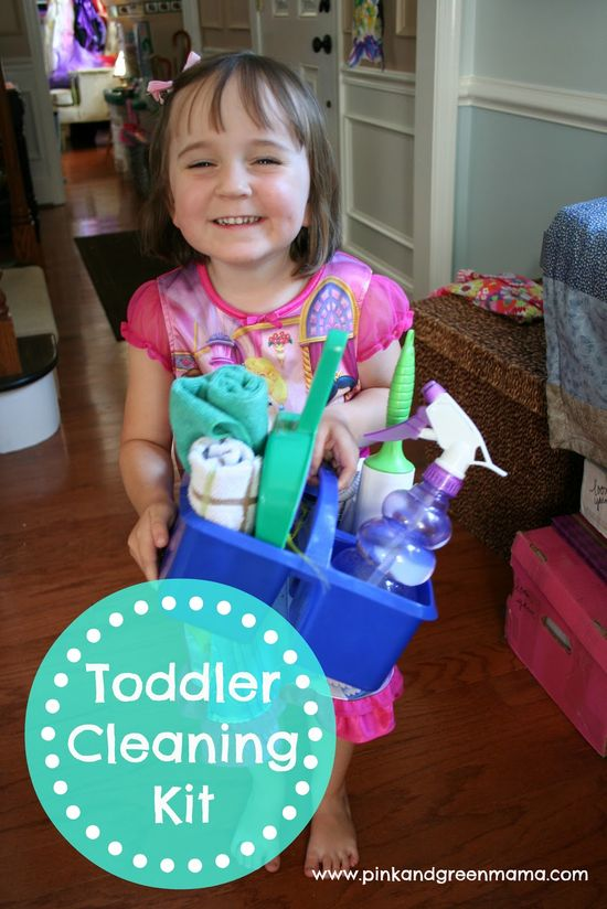 Toddler following you around the house wanting to help with the chores? Here are some great ideas for a toddler cleaning kit!