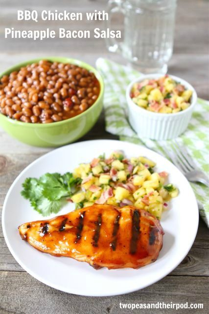 BBQ Chicken with Pineapple Bacon Salsa via @twopeasandpod - this looks & sounds amazing!