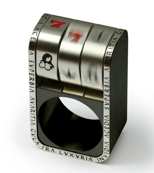 Michael Berger  Ring: Knuckle bandit  925 silver, partial black coated, stainless steel