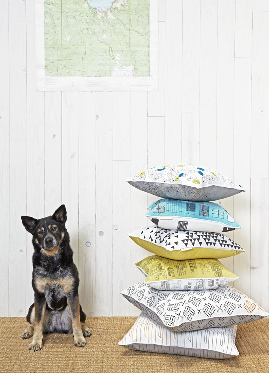 {stack of pillows + dog} love those geometric-y pillows!
