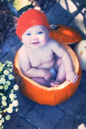 Adorable! Baby in a pumpkin