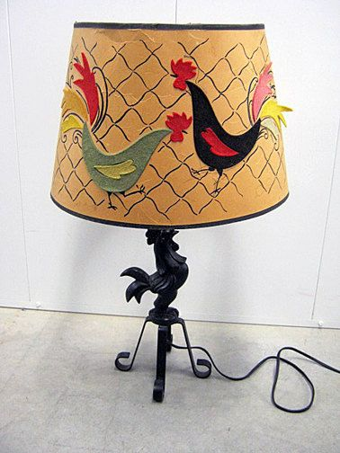 1940s Rooster Lamp Vintage Chicken cast steel by DrGogol on Etsy, $60.00