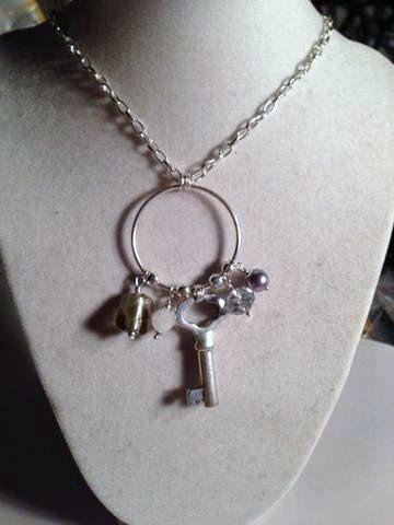 Charm Necklace Silver Jewelry Long Jewellery Key Chain by cdjali, $22.00