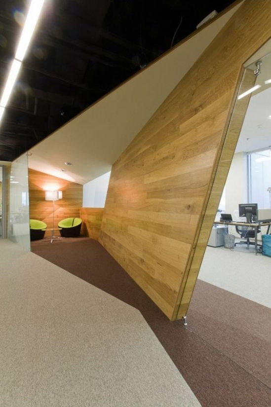 Yekaterinburg Offices Dynamic Architectural Design- Cool Triangular shape ceiling and floor integration