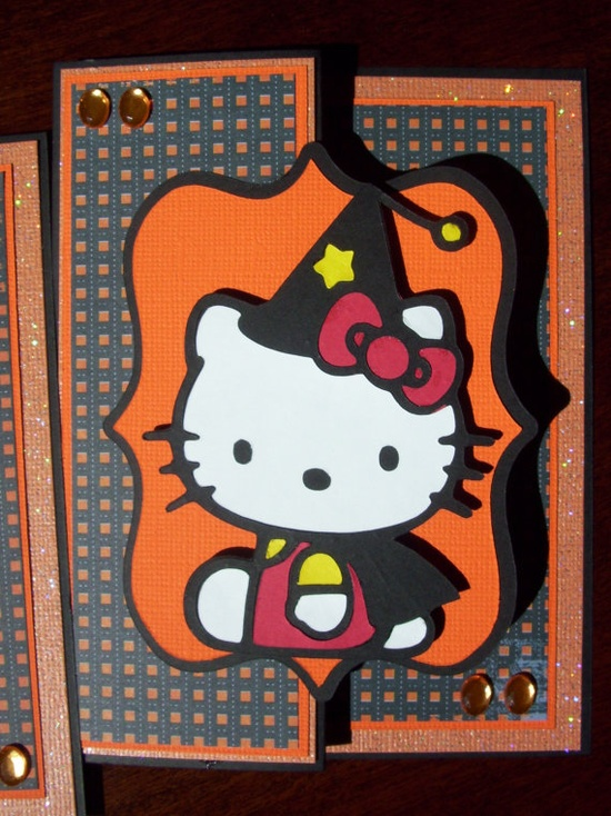 This is a really awesome handmade halloween card! I just love Hello Kitty!