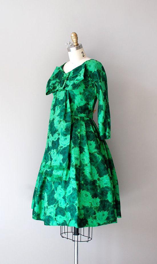 1950s GREEN ZINNIA silk dress