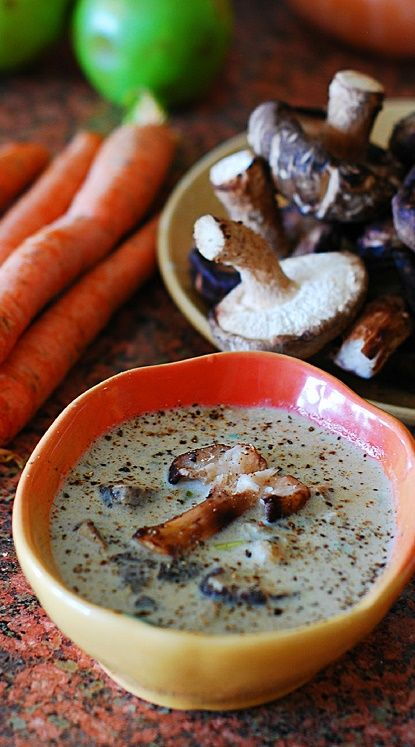 Creamy wild mushroom soup with Shiitake mushrooms. The creaminess in this soup comes from pureed mushrooms, not heavy cream.