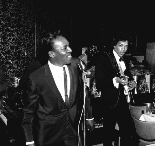 wilson pickett and jimi hendrix (in a suit and bow tie...early days)