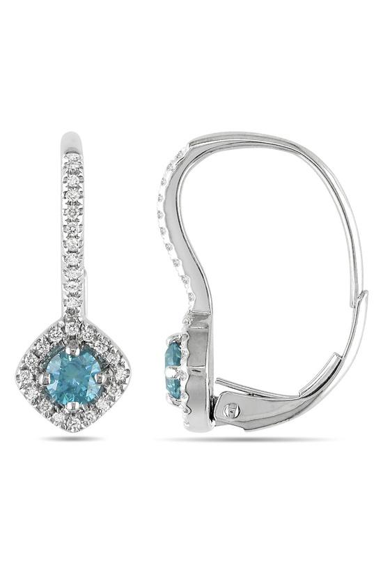 0.5 CT Blue & White Diamond Earrings In 14k White Gold