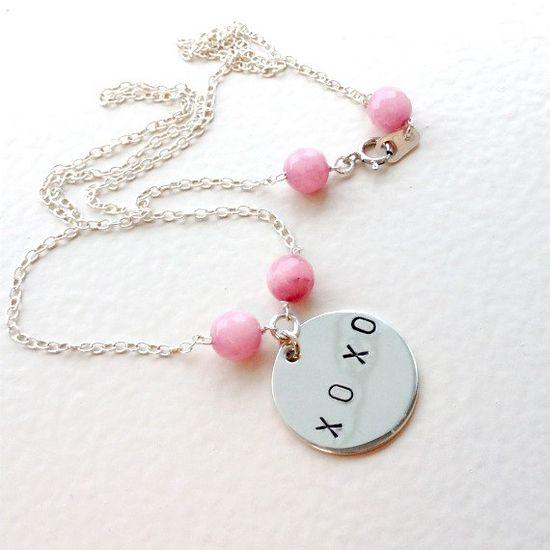 Pink Ruby Necklace XOXO Sterling Silver by jewelrybycarmal on Etsy, $42.00