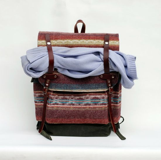 The Wayfarer Backpack in Limited Edition Wool Print by sketchbook, $285.00