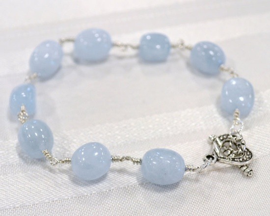Aquamarine Gemstone Wire Wrapped Bracelet by TurtleXIII.etsy.com