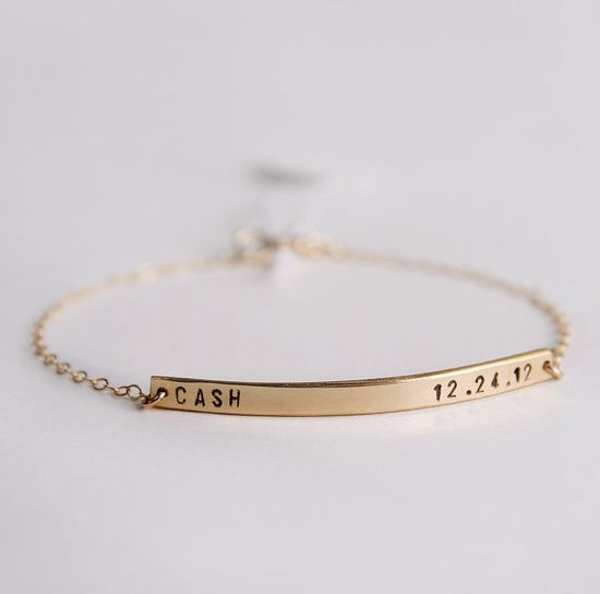 Skinny bar bracelet - Personalized nameplate bracelet  with tiny font - Initial bracelet - 14k gold fill