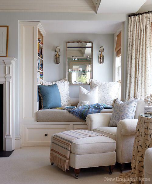 Master bedroom reading nook. (Would you ever leave?) Designer Charlotte Barnes in New England Home.