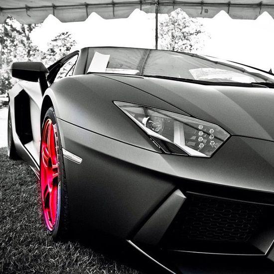 Pink Rimmed Lamborghini Aventador