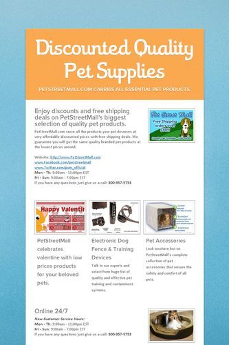 Discounted Quality Pet Products by PetStreetMall