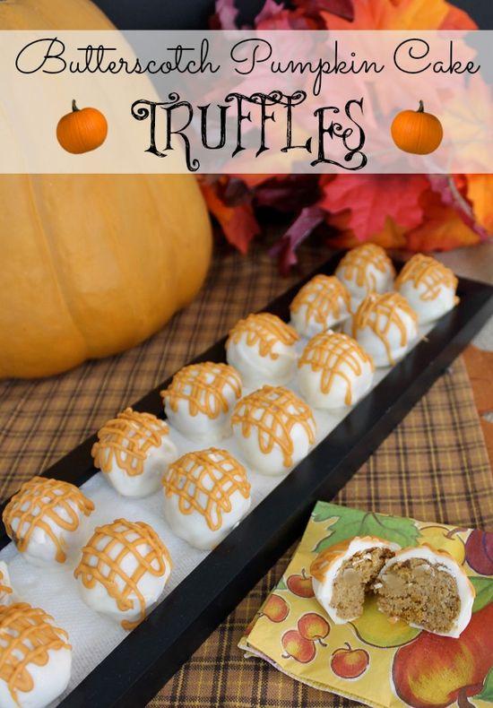 Butterscotch Pumpkin Cake Truffles by ALittleClaireific... #recipes #pumpkin #Fall