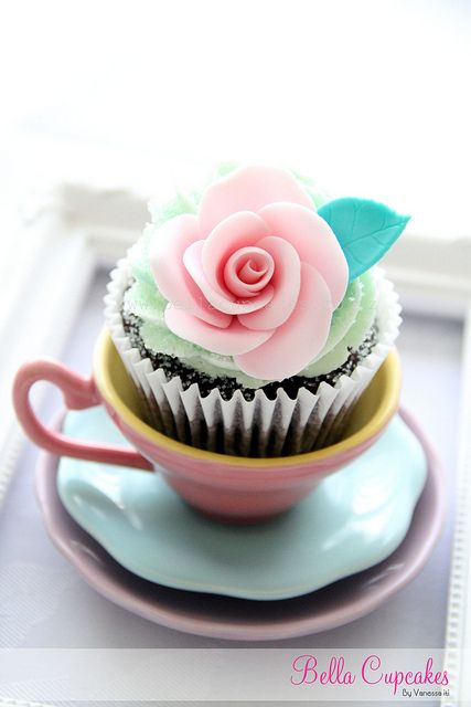pretty cupcake in a teacup
