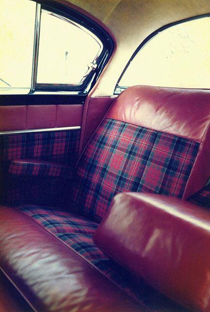 plaid car interior.