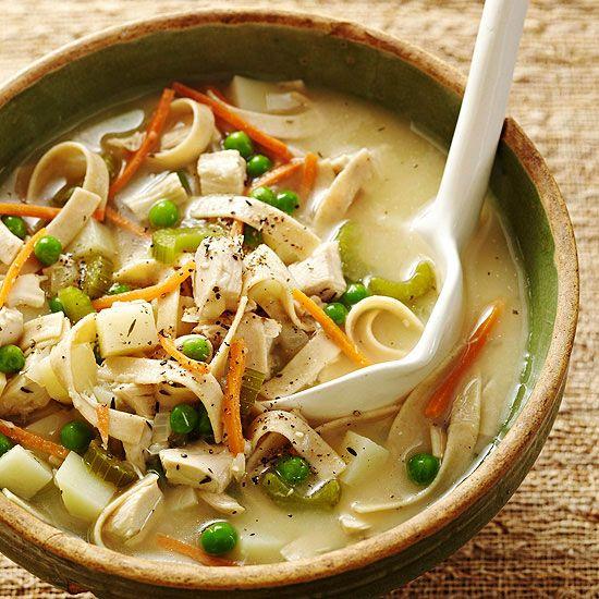 Creamy Roasted Chicken, Potato & Noodle Soup