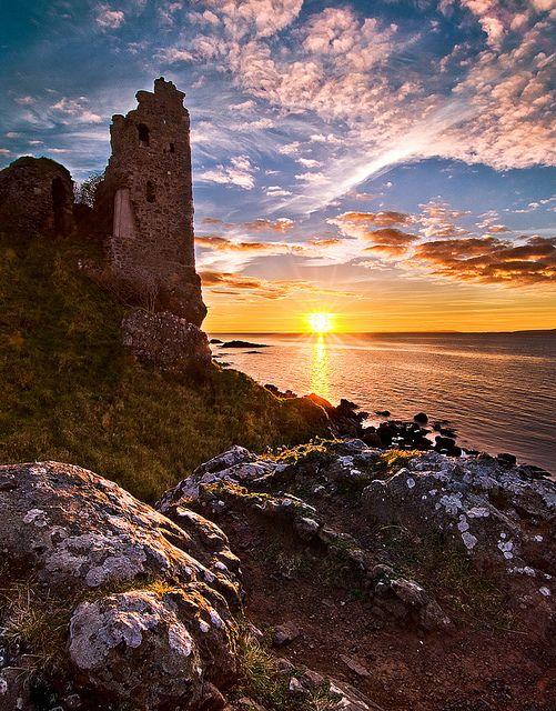 Dunure Castle ruins ~ Ayr Bay, Firth of Clyde, South Ayrshire, Scotland (photo by Peter Ribbeck, West Kilbride, Scotland) #ayr #scotland