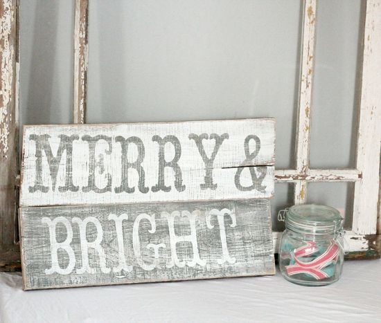 Vintage Merry & Bright Christmas sign on etsy