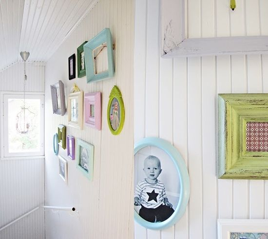Pastel Picture frames hanging on the wall