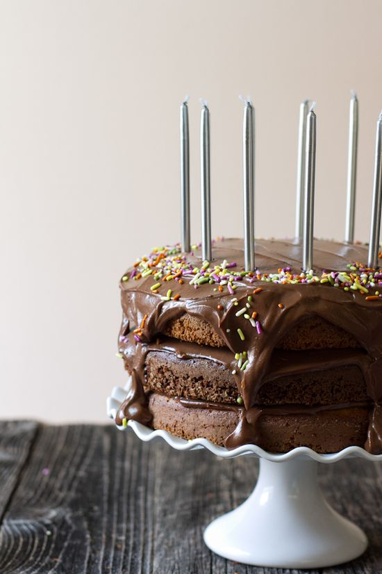 Triple Layer Chocolate Vanilla Birthday Cake with Chocolate Cashew Cream Frosting