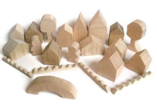 Little Wooden Toy Village - Tiny Wooden Village - Miniature Village