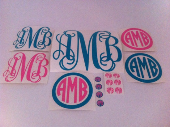 Sampler pack of 16 monogram decals for $20.00.