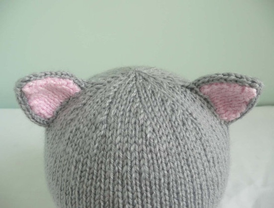 Handknit baby cat hat in grey 36 months by bedtimeblues on Etsy, £8.50