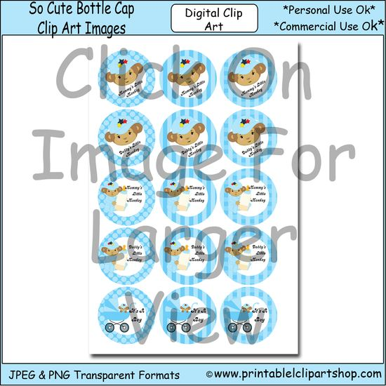 Mommy's little monkey bottle cap images consist of 15 images in a baby blue color scheme. A baby monkey in a carriage, a baby monkey holding...