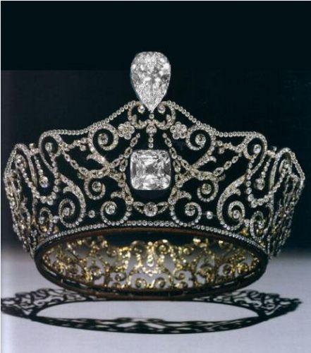 Delhi Durbar Tiara with the Cullinan diamonds.  The Cullinan diamonds are the 3rd and 4th largest diamonds in the world.
