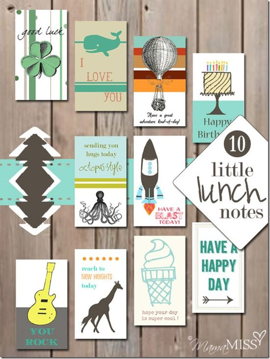 10 Little Lunch Notes .... Mama Miss makes THE best printables!