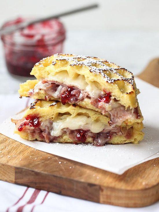 Monte Cristo Waffle Sandwich by foodiecrush #Sandwich #Waffle