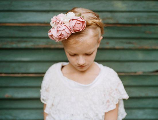 Bridal floral crown, flowergirl crown, wedding headpiece with handmade fabric flowers