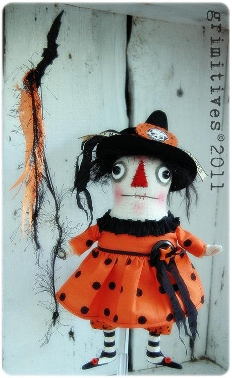 Witch Batty Hatty- a sweet little Raggedy Grimm Doll