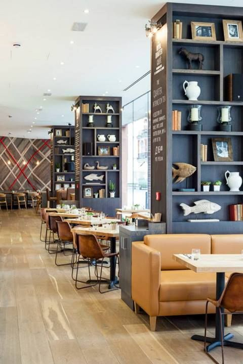 royal quarter cafe/ like the shelving idea of unusual items