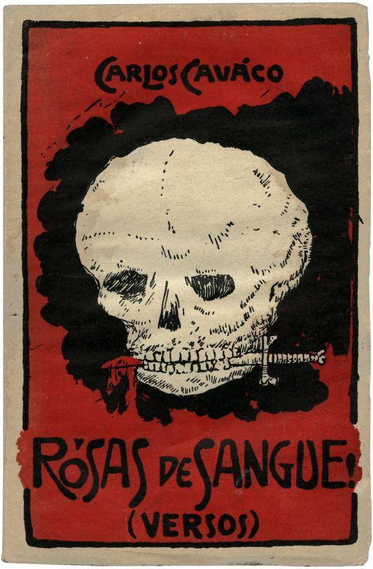 Skull book cover design - Rosas de sangue!, Carlos Caváco, 1920