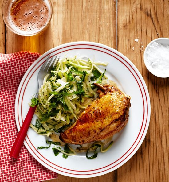 Chicken With Maple-Ginger Fennel and Bok Choy Slaw by Stephanie Izard, wsj #Chicken #Maple #Ginger #Fennel #Bok_Choy