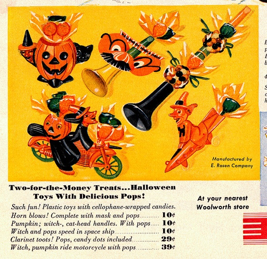 1954 Vintage Woolworth Halloween Ad for Rosen Candy Containers