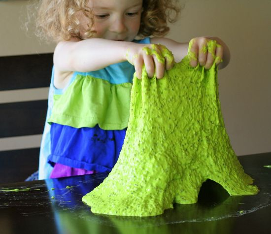 All-Natural Edible Slime!  No cook recipe that's ready in less than 5 minutes.  From Fun at Home with Kids
