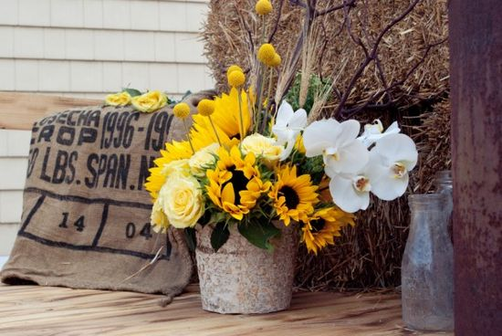 Sunflowers At Rustic Wedding