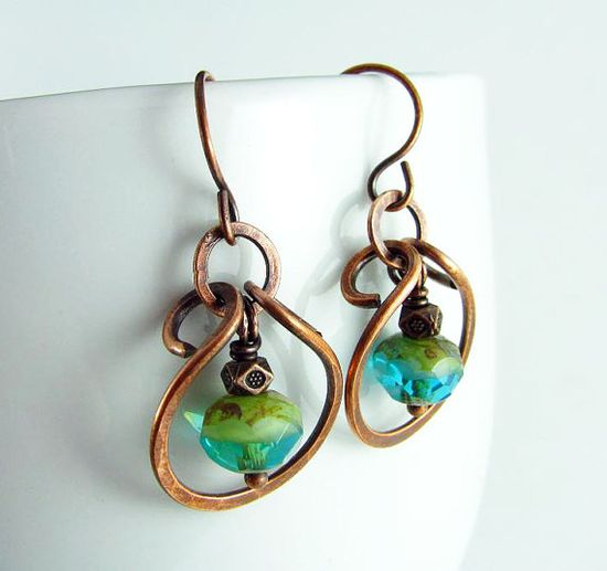 Wire Wrapped Jewelry Copper Earrings Hammered by PolymerPlayin, $24.00