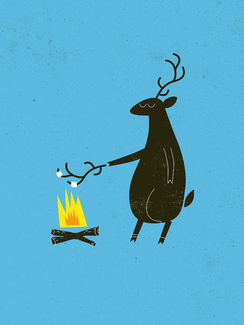 Deer roasting marshmallows    artwork by BROCK DAVIS.